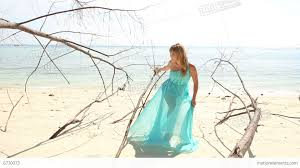 Beach Transparent by Blonde In Transparent Dress Poses On Beach Stock Video