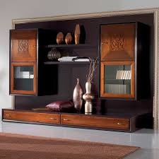 contemporary living room wall unit lacquered wood four seasons