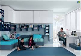 Blue Floor L Bedroom Modern Bedroom Design With L Shaped Blue Bunk Bed And