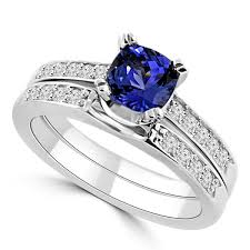 tanzanite engagement ring cushion tanzanite matching engagement wedding ring set