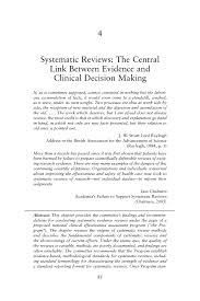 4 systematic reviews the central link between evidence and