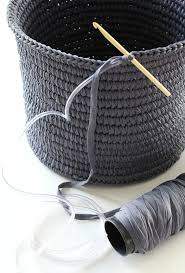 crochet basket made with tape yarn over plastic tubing craft