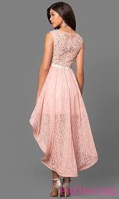 pink dress semi formal lace high low prom dress promgirl