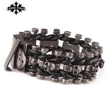 steel leather bracelet images Wide skull skeleton leather bracelet for men with stainless steel jpg