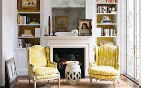 Yellow Fireplace Fireplace Bookshelves Design Ideas