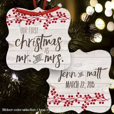 etsy mr and mrs rustic ornament keepsake newlywed