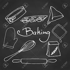 hand drawn baking equipment kitchen tools design vector stuff