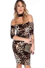 leopard velvet print mid sleeve off the shoulder mock neck