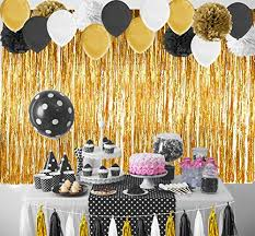 gold party decorations paxcoo 52 pcs black and gold party decorations with balloons tissue