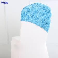 Chair Sashes Wedding Aliexpress Com Buy Aqua Colour Embroider Rosette Satin Chair