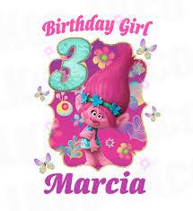 birthday girl trolls poppy iron on transfer birthday girl luvibeekidsco