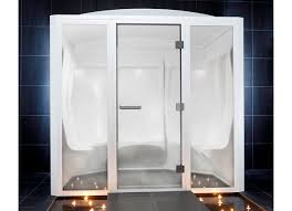 steam shower cubicle glass rectangular with hinged door
