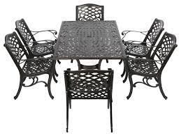 Discount Cast Aluminum Patio Furniture by Odena 7 Piece Outdoor Dining Set Bronze Traditional Outdoor