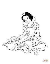 snow white is playing with the forest animals coloring page free