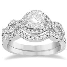 infinity engagement rings diamond infinity halo engagement ring band set 14k white gold 0 60ct