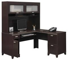 L Shaped Black Glass Desk Simple And Neat Decorating Ideas Using L Shaped Black Wooden Desks