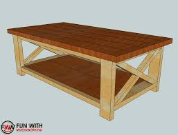 Woodworking Plans Display Coffee Table by Delighful Rustic Coffee Table Plans W Planked Top Free Diy To