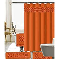 Shower Curtains With Matching Accessories Burnt Orange Decor Shower Curtain Set By Ambesonne