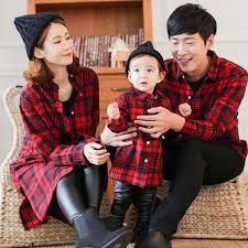 black red plaid shirt family set fashion clothes for mummy son