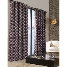 black chenille pattern ready made fully lined eyelet curtain pair