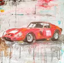 car ferrari drawing art painting mixed media car legends ferrari gto 250 drawing