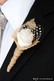 burlap boutonniere wedding boutonniere with feathers