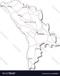 Moldova Map Moldova Black White Map Royalty Free Vector Image