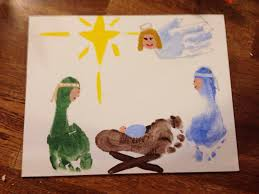 manger scene with footprints and handprints christmas