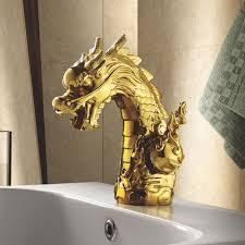gold dragon head bathroom sink mixer tap deck mount single handle