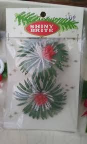 shiny brite 8 pc vintage plastic christmas flowers holiday