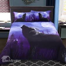 wolf bed set onlwe 3d howling wolf printed cotton 4 piece bedding sets duvet