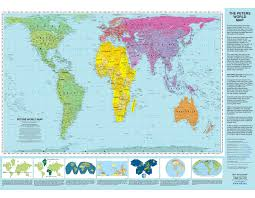 World Map Equator by Peters Projection World Map Laminated Arno Peters Odtmaps Com