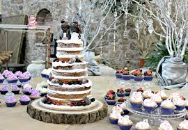 winter themed rustic wedding cake with handmade little big