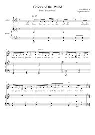 colors of the wind alan meken u0026 stephen schwartz sheet music