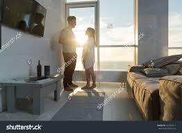 young couple modern apartment big panoramic stock photo 537497311