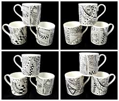 bone china mugs with black and white zentangle design kiln
