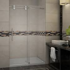 accessible shower doors langham completely frameless sliding alcove shower door platinum