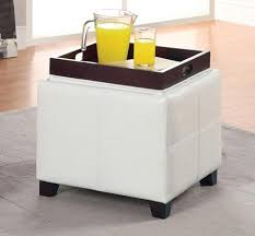 Ottoman With Flip Top Tray Anton Pu Leather Storage Ottoman With Flip Top Tray White