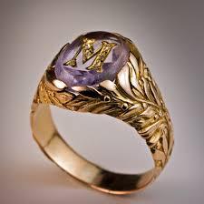 monogram rings gold vintage amethyst monogrammed mens ring 1908 1917 rings