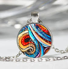 necklace art images Abstract art swirltibet silver dome glass cabochon necklace chain jpg
