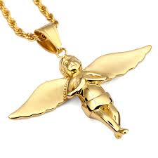 aliexpress buy nyuk new fashion american style gold nyuk fashion gold wing angel pendant necklaces titanium steel