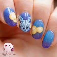piggieluv blue baby dragon nail art