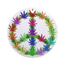 rainbow peace marijuana leaf ornament by ursinelogic