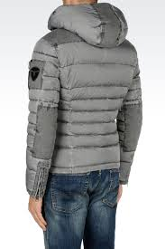 armani jeans down coat in gray for men lyst