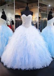 baby blue quinceanera dresses gown sweetheart light blue tulle ruffle pearl