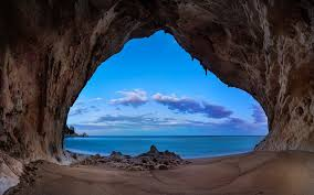 blue morning wallpapers landscape nature beach cave sand rock sea clouds blue