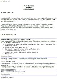 it trainee cv example u2013 cover letters and cv examples