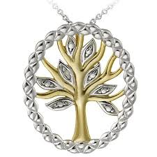 sterling silver necklace designs images Shop db designs two tone sterling silver diamond accent tree of jpg