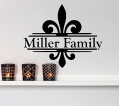 family name wall decals fleur de lis by decor designs decals fleur de lis decal fleur de