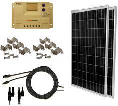 Solar Shed Light by 200 Watt 2 Pcs 100 Watt 12 U0026 24 Volt Solar Panel Kit With Lcd
